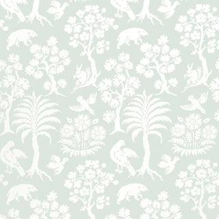 Sample - Schumacher Palm Damask Wallpaper in Sky For Sale