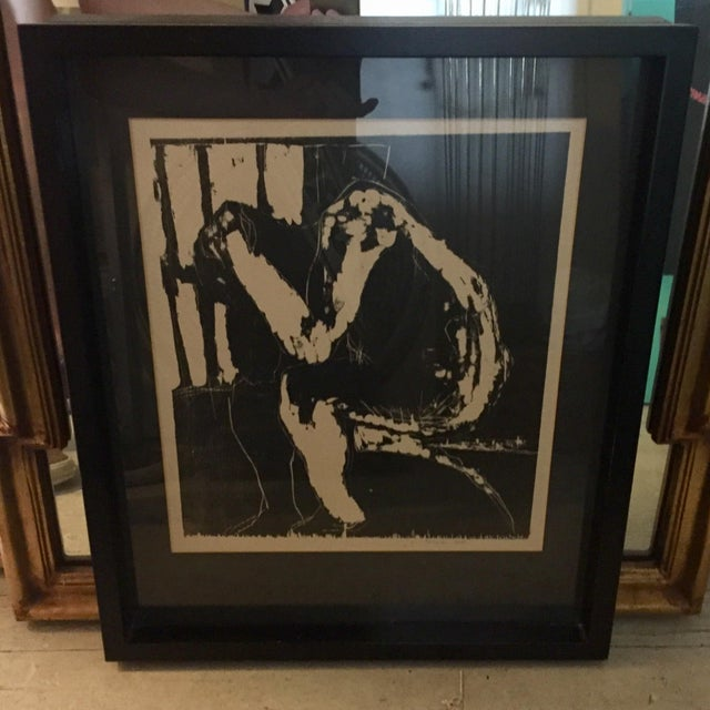 Male Nude Woodblock Print For Sale - Image 4 of 4