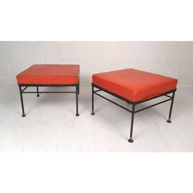 Pair of Mid-Century Modern Foot Stools For Sale - Image 11 of 11