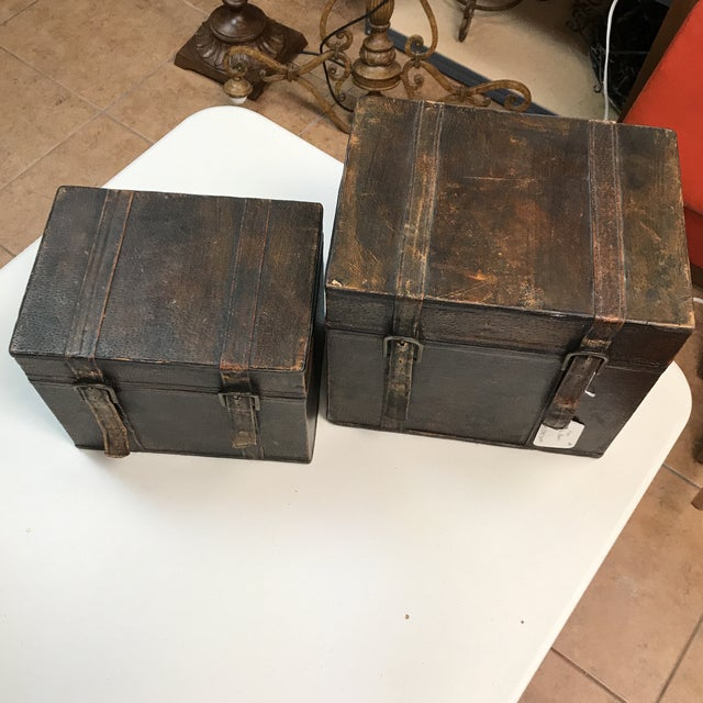 Rustic Vintage Leather Storage Boxes - A Pair For Sale - Image 3 of 11