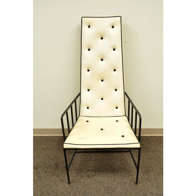 Vintage Mid Century Modern Wrought Iron Arthur Umanoff Paul McCobb Arm Chair For Sale In Philadelphia - Image 6 of 11