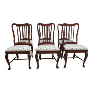 6 Keller Cherry Carved Spindle Back Dining Room Queen Ann Side Chairs Set