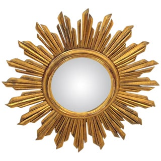 Continental Giltwood Starburst Mirror For Sale