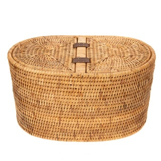 Artifacts Rattan Oval Double Tissue Roll Holder For Sale