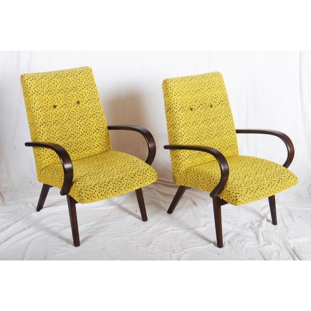 Yellow Mid-Century Czech Upholstered Chairs, 1960s - A Pair For Sale - Image 8 of 11