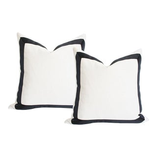 "Solid White Grosgrain Ribbon Border Pillow Covers - a Pair 18"" Sq"