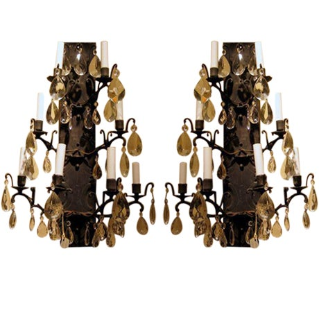 Pair of Wrought Iron and Crystal Wall Sconces Early 20th C. For Sale - Image 4 of 4