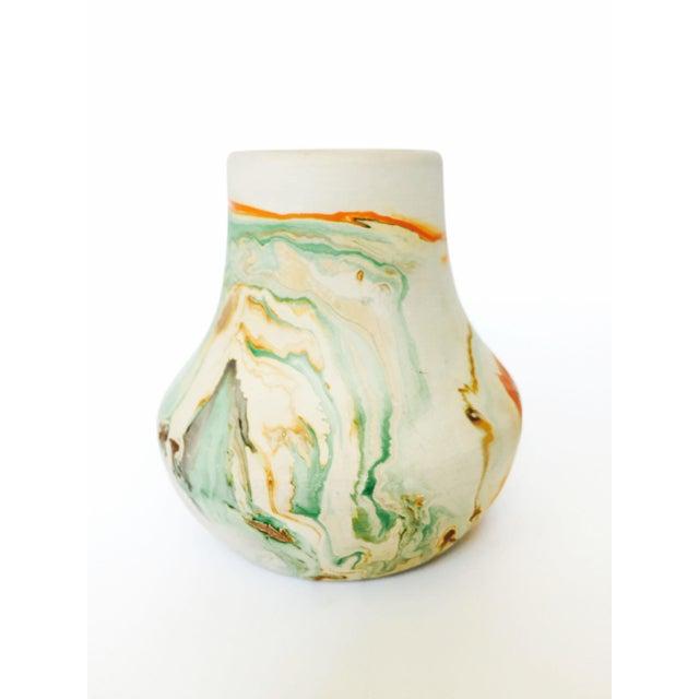 Vintage Nemadji Pottery Vase - Green and Orange Swirls - Image 3 of 5
