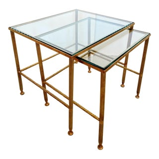 Brass Nesting Tables, W/ Fluted Legs & Rope Detailing, Set of 2 / Mid-Century For Sale