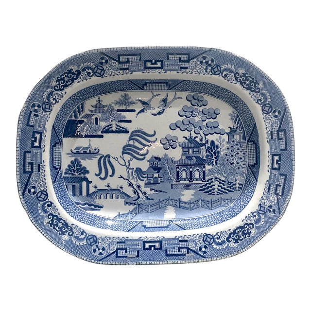 Blue Willow Platter, England Circa 1800 For Sale