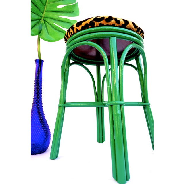 Vintage Emerald Green & Leopard Velvet Rattan Bamboo Accent Stool For Sale In Los Angeles - Image 6 of 12