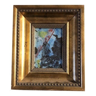 Original Vintage Small Abstract Watercolor Painting Ornate Vintage Frame 1970's For Sale