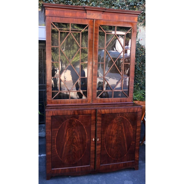 English Early 19c Antique English Regency Mahogany Secretary Bookcase For Sale - Image 3 of 12
