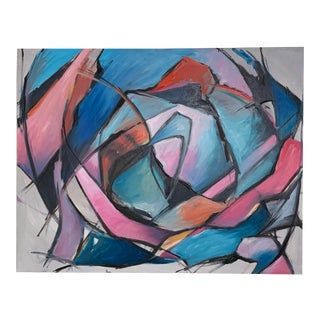 Circa 1980s Large Vibrant Abstract Postmodern Painting by Phuc Phan For Sale
