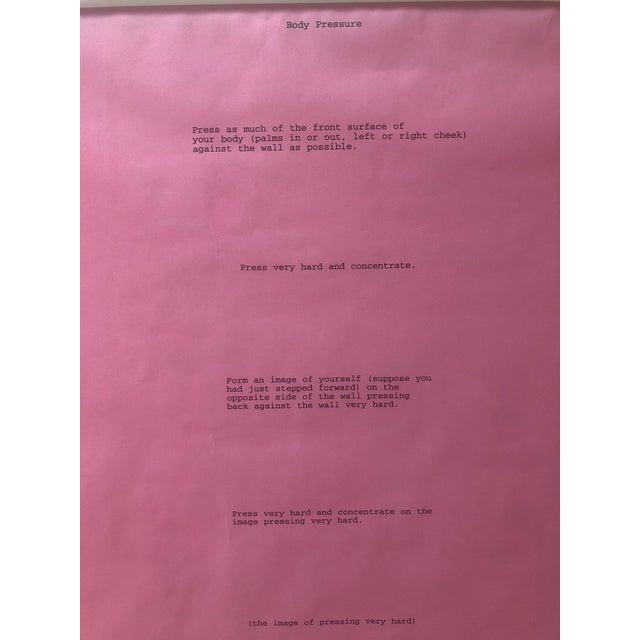 Mid-Century Modern Dia: Beacon Art Foundation, 1974 Bruce Nauman Body Pressure Framed Pink Print For Sale - Image 3 of 7