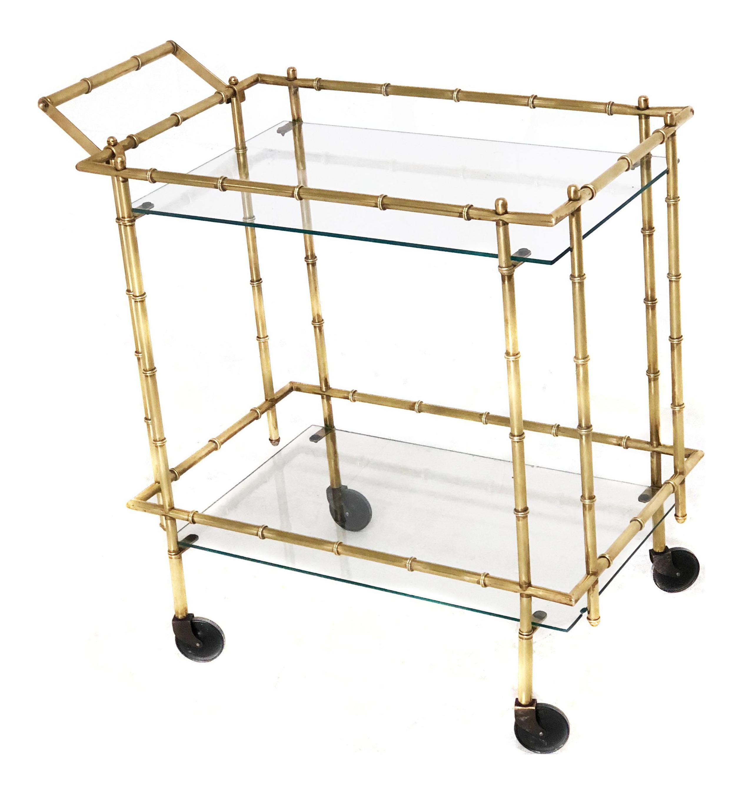 bamboo bar cart. Mid Century Brass Faux Bamboo Bar Cart For Sale