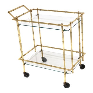 Mid Century Brass Faux Bamboo Bar Cart For Sale