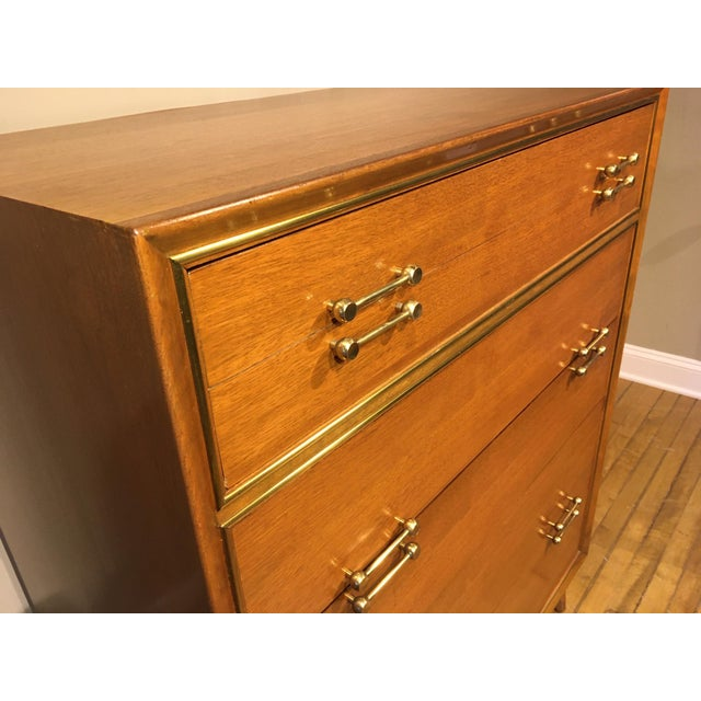 Brown Vintage Mid-Century Tall Dresser For Sale - Image 8 of 12