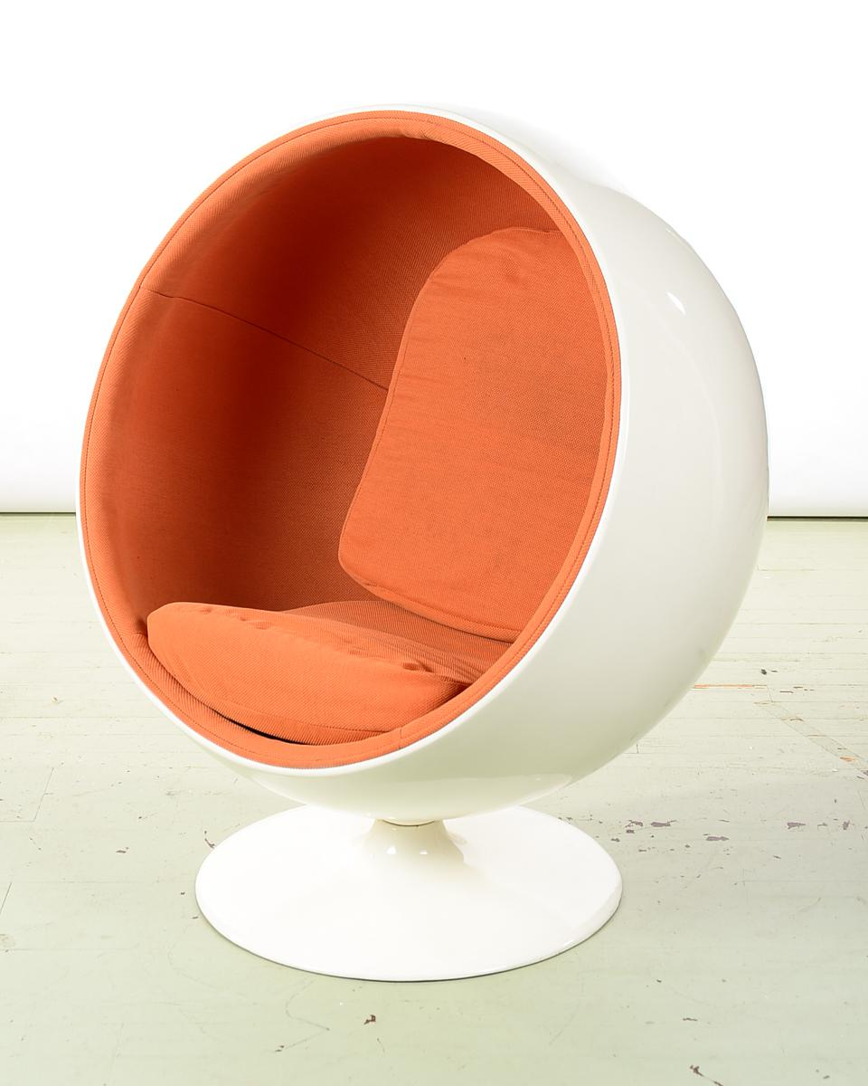 Eero Aarnio  1960s Mid Century Modern White Ball Chair White Fiberglass  Body With Orange Upholstery