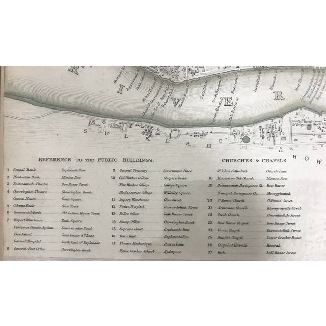 19th. Century Antique Map of Calcutta, India With Fort William 1852 by the Society for the Diffusion of Useful Knowledge For Sale - Image 10 of 13