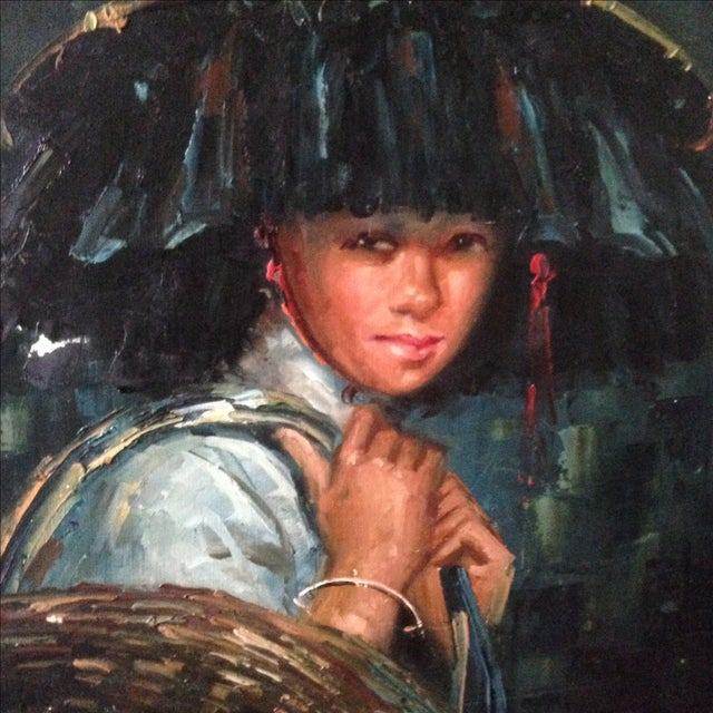 Vintage Portrait of Young Woman, Oil on Canvas - Image 4 of 11