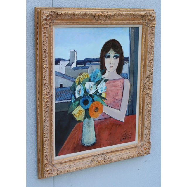 Mid-Century Modern Charles Levier Reverie Oil Painting For Sale - Image 3 of 11