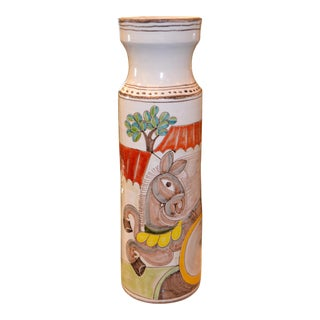 Desimone Hand Painted Tall Art Pottery Flower Vase For Sale