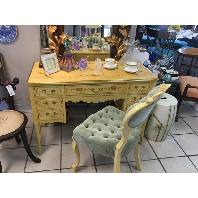 1970's Yellow Hand Painted Roses Floral Vanity & Chair For Sale - Image 9 of 10
