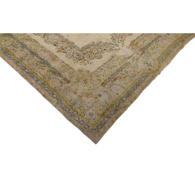 Antique Persian Kerman Rug with Traditional Style in Light Colors For Sale - Image 4 of 10