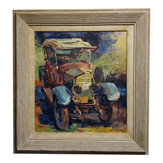 """Vintage 1920s """"Roll Royce"""" Oil Painting on Canvas by Ben Abril For Sale"""