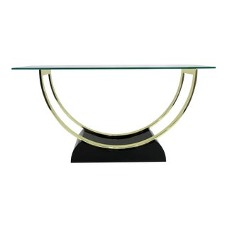 Chic 1980s Black Lacquer and Brass Console For Sale