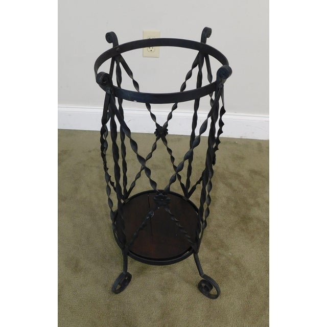 1900 - 1909 Aesthetic Antique Hand Wrought Iron Umbrella Stand For Sale - Image 5 of 13