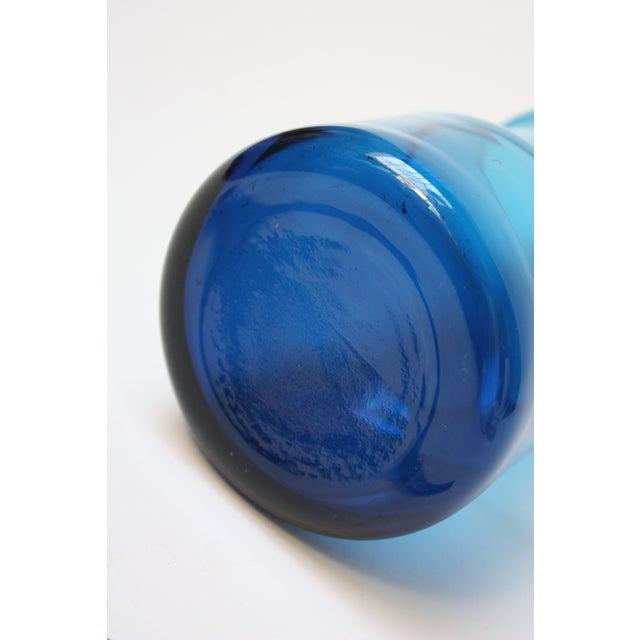 Gunnar Ander for Lindshammer Swedish Blue Glass Pitcher & Stirrer For Sale - Image 10 of 11