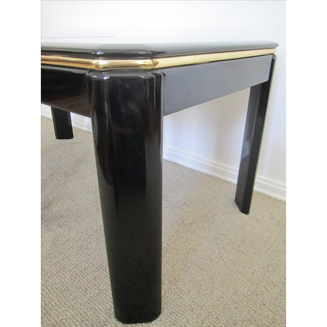 Vintage Modern Black Lacquer & Brass Tables - Pair - Image 5 of 10