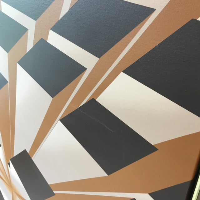 Brown Vintage Artist Signed Geometric Op Art Acrylic on Canvas Monumental Wall Art- 5' X 5' For Sale - Image 8 of 13