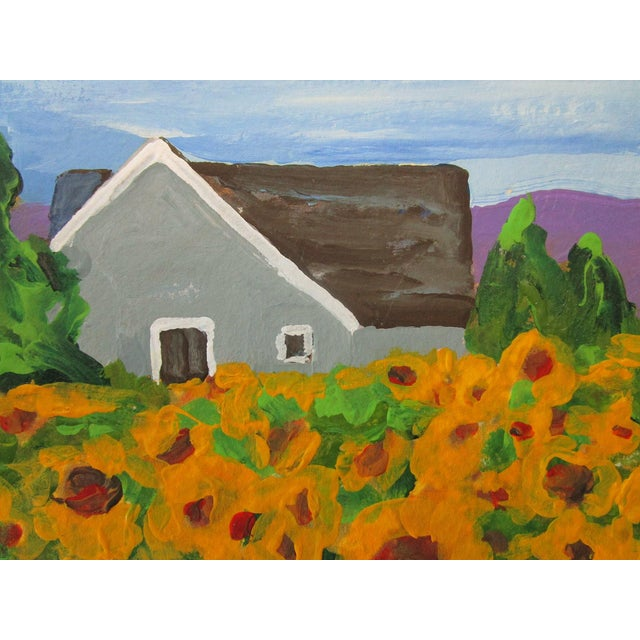 Cottage California Plein Air Landscape Sunflower Farm 5x7 Painting by Lynne French For Sale - Image 4 of 7