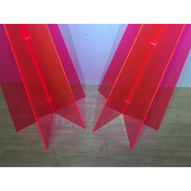 1970s Pink Lucite Tree Form Sculptures - a Pair - Image 5 of 8