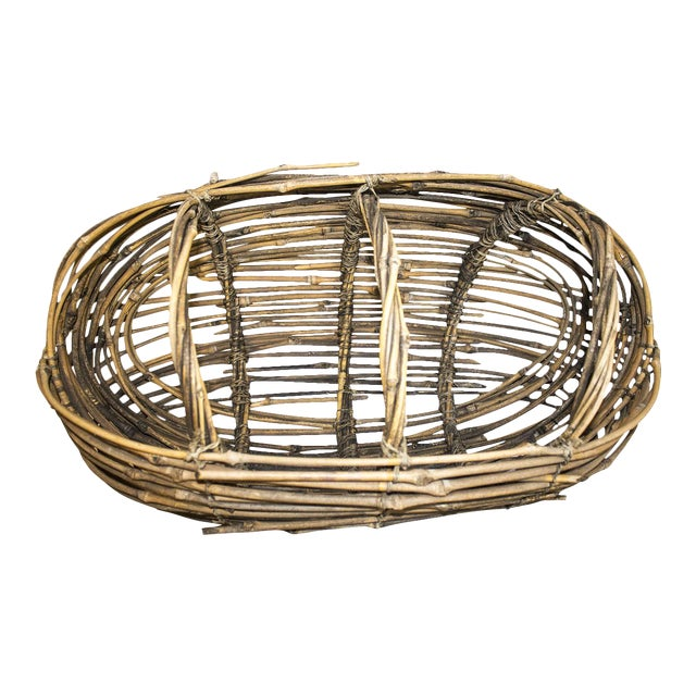 Country Woven Twig Basket For Sale