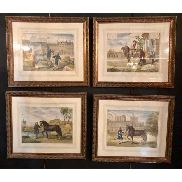 Set of four finely framed and matted engravings of English men on their horses. Each signed and titled set in very...