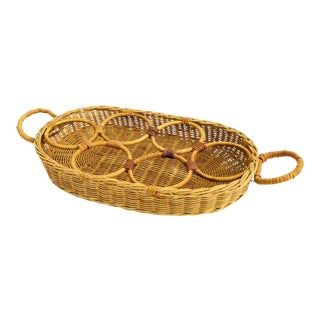 Vintage Wicker Drink Tray For Sale