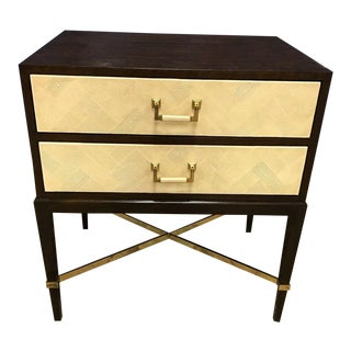 Maitland Smith Transitional Walnut Side Table/Nightstand For Sale