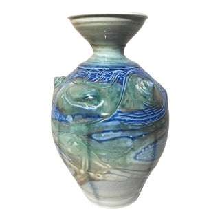 20th Century Art Pottery Vase With Shells and Drip Glaze For Sale
