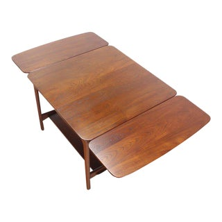 Square Solid Teak Drop Leaf Coffee end Table For Sale