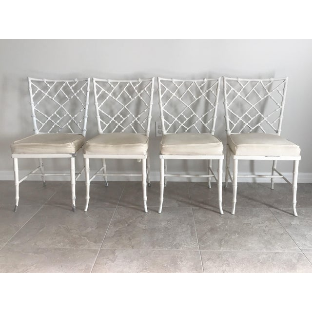 White Vintage Phyllis Morris Style Metal Faux Bamboo Chairs - Set of 4 For Sale - Image 8 of 8