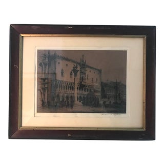 "Andrew F. Affleck Signed ""Doge's Palace"" in Venice Etching and Drypoint For Sale"
