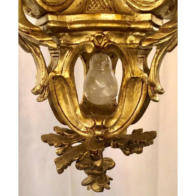Antique Baroque Gilt Wood and Rock Crystal 9 Light Chandelier