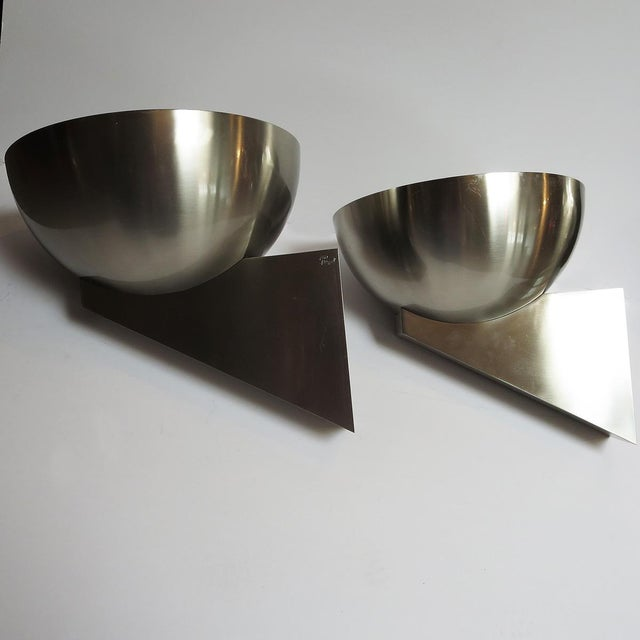 Jean Perzel Jean Perzel Deco Sconces – Brushed Steel For Sale - Image 4 of 8