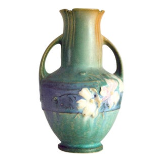 1940s Roseville Pottery Green Cosmos Vase 946-6 For Sale