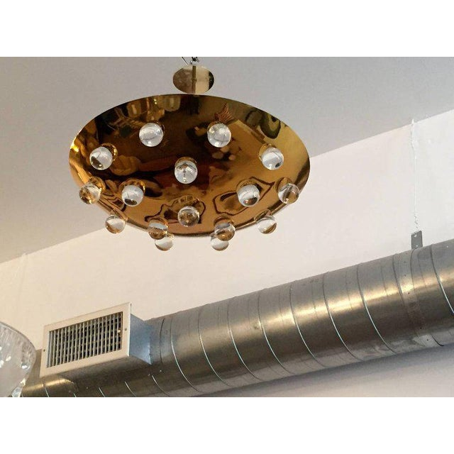 Metal 1960s Mid-Century Modern French Brass Crystal Orb Pendant Lighting For Sale - Image 7 of 10