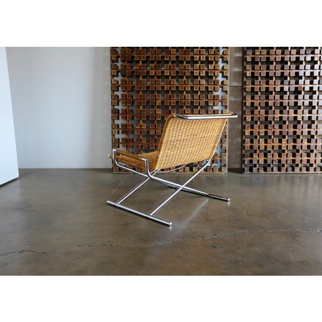 """Tan 1966 Vintage Cane & Chrome Plated Steel """" Sled """" Chair For Sale - Image 8 of 10"""